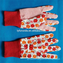 FURUNDA Flower printted popular pvc dot coated cotton garden flowers gloves with free samples