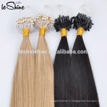 Cheveux minces indiens de boucle de doubles liens dessinés 0.5g / 0.8g / 1g Micro extension de cheveux bon marché d'anneau