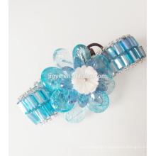 Bracelete de declaração de flor de gemstone azul frisado