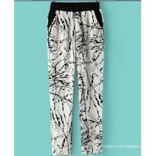 2015 Nuevo Estilo Impreso Palazzo Pantalones Mujer Algodón