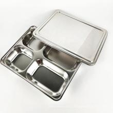 Bandeja de comida escolar al por mayor de acero inoxidable cuatro en uno platos