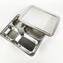 wholesale stainless steel four in one dinner plates school lunch tray