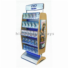 Free Design Audio Produkte Einzelhandel Store Doppelseitige Boden Display 5-Tier Eisen Metall CD DVD Rack