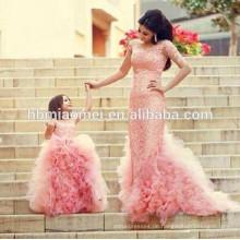 Rosafarbenes weiches Ballettröckchenkleid der neuen Art und Weise rosafarbenes für Hochzeit sleeveless geschnürtes westliches Hochzeitsabnutzungs-Ballkleid-Königinkleid für Mädchen