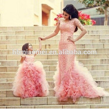 Новая мода розовый цвет мягкая пачка платье для свадьбы рукавов laced Западная свадебная одежда бальное платье королева платье для девочки