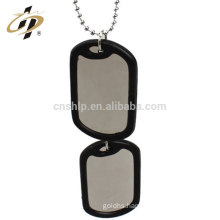 Best selling stainless steel custom blank military dog tag with rubber necklace