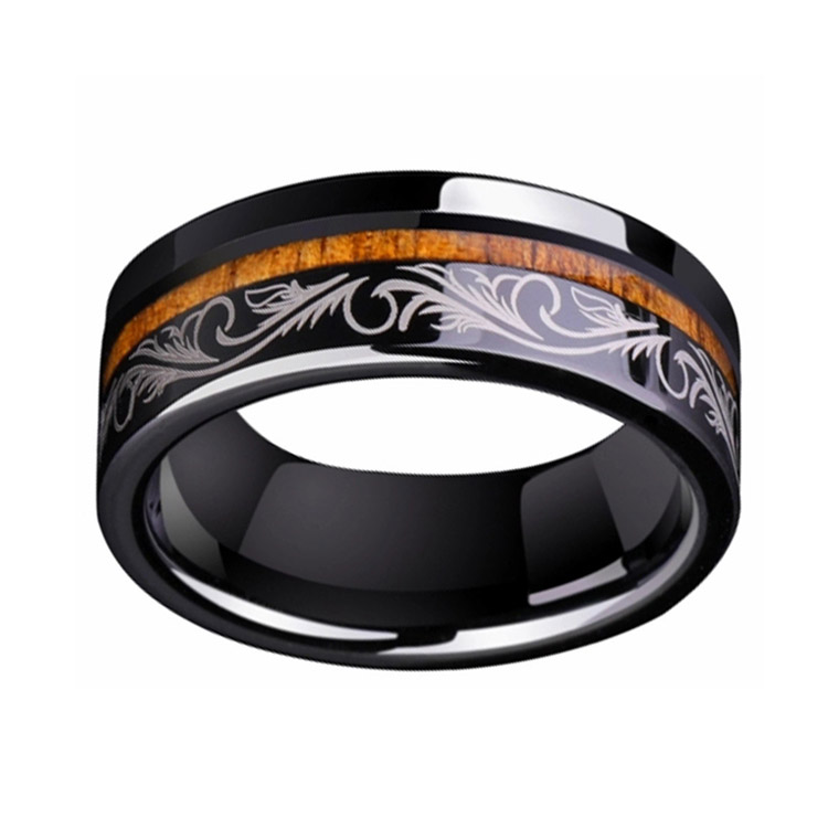 Black Tungsten Engagement Ring