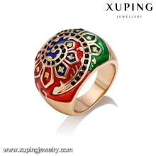 14384 Atacado estilo antigo senhoras jóias de pintura de girassol anel de dedo colorido