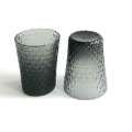 Embossed Tumbler Glass Cup With Smoky Gray