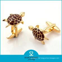 Schildkröten-geformte Gold überzogene Emaille Männer Manschettenknöpfe (SH-BC0011)