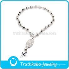 TKB-B0076 St. Benedict Silver Cross Jesus Rosary Beads Bracelets