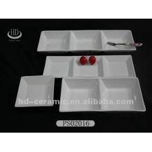 Placa dividida de cerámica blanca alta