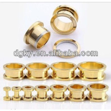 Gold plated ear plug ear tunnel piercing jewelry