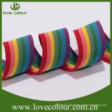 Fabrik Großhandelsgewohnheit Polyester-Regenbogen gesponnenes elastisches Band
