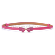 kids Fashion bow buckle skinny PU waist belt
