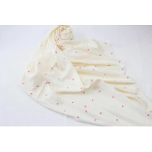 nice quality red heart printed with beige background square scarf fringe on four side