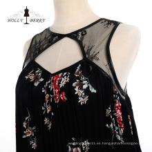 Moda Negro Primavera Floral Vestidos de cena Ropa de mujer
