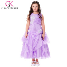Grace Karin Sleeveless Ruffled Flower Girl Princess Bridesmaid Wedding Pageant Mauve Party Dress CL010407-2