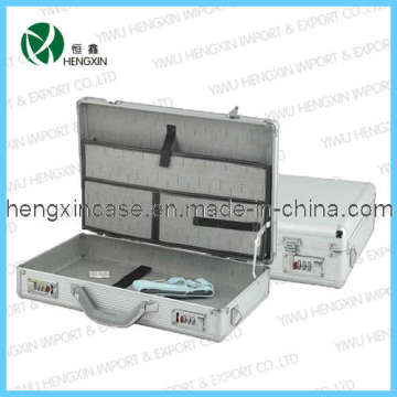 Silver Aluminum Attache Briefcase Profile Documents Box (HX-L0030)