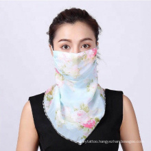 Chiffon Women Multi-function Short Scarf Sunscreen Collar Pullover Thin Mesh Hanging Ear Neck Scarf Sport Outdoor Face Scarf