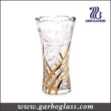 Florero de cristal de la decoración de oro (GB1505XWH-DSD)