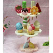 Sorvete de madeira jogando stand mini alimentos brinquedos