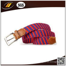 OEM High Quality Fashion Women Elastic Webbing Belt with Real Leather End
