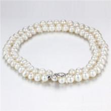 11-12mm большой размер белый Knotted уникально ювелирные изделия ожерелья перлы оптом