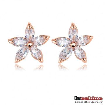 10*10mm Boutique Small Flower Zircon Earrings for Girls (ER0156)