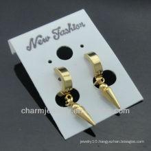 Hot Sale Shiny Surgical Steel 14K gold plated mens huggie hoop earrings HE-088-1