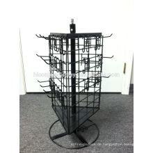 3-seitig Spinner Abnehmbare schwarze Merchandiser Haken Metalldraht drehende Arbeitsplatte Display Rack