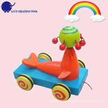 Kids Funny jogar madeira Sea Lion puxar carrinho carrinho para toddler