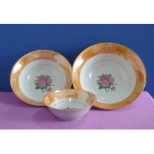Einfacher Blumen-Abziehbild-runde Form-keramische Salatschüssel