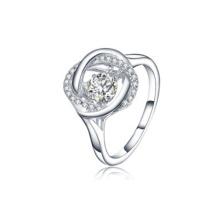 Серебряные серебряные кольца 925 серебра с танцующим бриллиантом