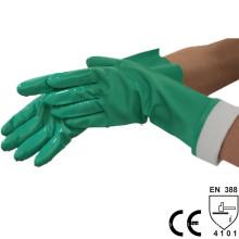 Luva de nitrilo verde química sem suporte NMSAFETY