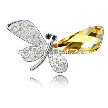 2016 broche de cristal da asa da borboleta broches artificiais da jóia feita sob encomenda do ródio da jóia