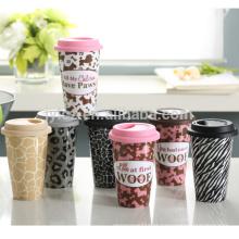 Caneca de café cerâmica do projeto animal de 10 onças com tampa do silicone