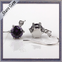 5mm Round Lab Created Brilliant Amethyst Silver Earring Jewelry