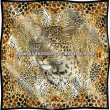 Leopard Skin Screen Printed Pure Silk Scarf