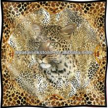 Leopardo pele tela impressa lenço de seda pura