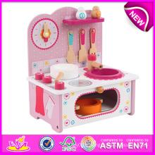 Nouveau produit en bois jouet cuisine pour enfants, belle en bois cuisine définie jouet pour enfants, faire semblant jouet cuisine jeu de jeu à vendre W10c096