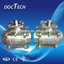 """DN40 1-1/2"""" CF8 3pc female ball valve, NPT/BSP/BSPT"""