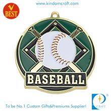 Medalla de béisbol de chapado en oro de alta calidad profesional personalizada con esmalte suave