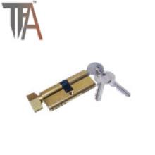 Cilindro de cerradura de latón abierto de un lado