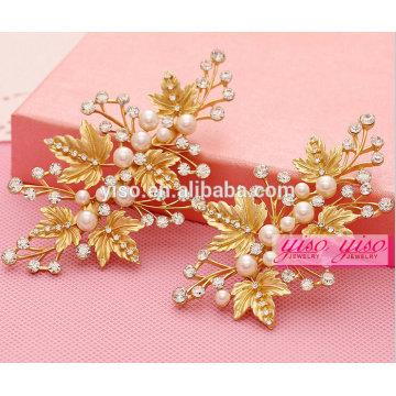 Золотые листья цветок свадебные украшения для волос драгоценности тиара гребни