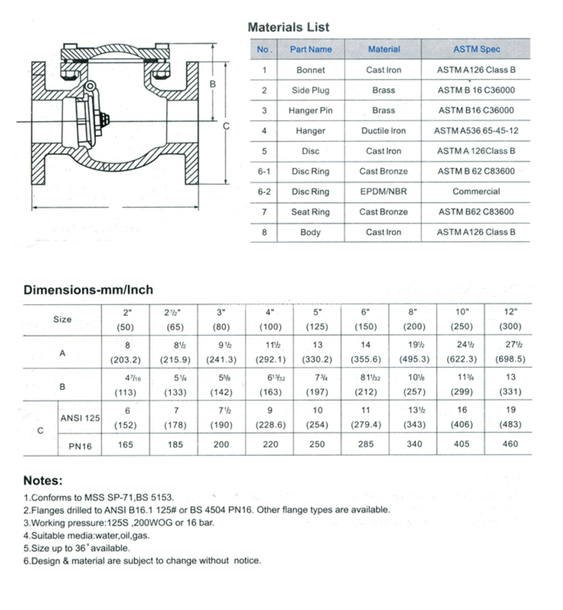 Drawing of Swing check valve flanged type