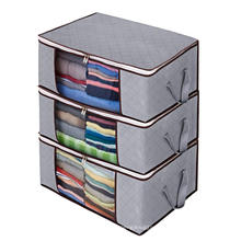 Set of 3 Large Foldable Clothes Storage Organizer Bag with Clear Window & Carry Handles