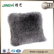 Gros tibétain mongol en peau de mouton fourrure coussin housse de coussin jaune