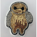 Goud Wit Baymax Carton Machine Sequin Beaded Patch