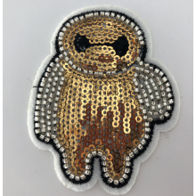 Gold White Baymax Thùng carton Sequin Đính cườm Patch
